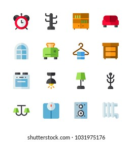 icons Furniture. vector speaker, alarm clock and toaster