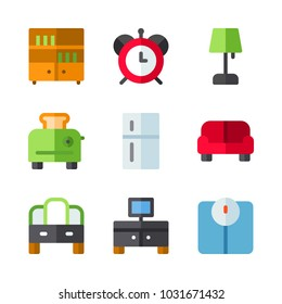icons Furniture. vector television, scale and bookcase