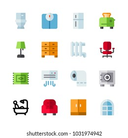 icons Furniture. vector toilet paper, office chair and wardrobe