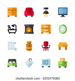 icons Furniture. vector vase, red armchair and sink