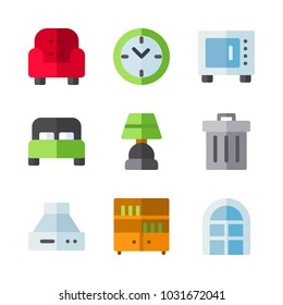 icons Furniture. vector window, microwave and red armchair