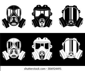 icons gas mask black and white vector illustration isolated on white background