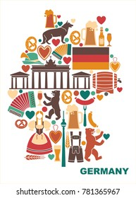 Icons Of Germany in the form of a map. Traditional symbols of culture, architecture and cuisine of Germany