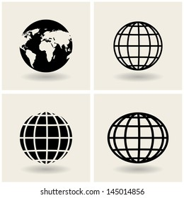 icons globes. vector. eps10