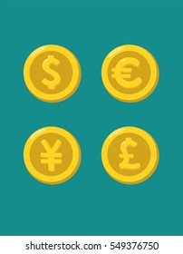 Icons of gold coins with images of currencies of different countries: a coin with a dollar sign; coin with euro sign; coin with the pound sterling; coin with the image of the Japanese Yen.