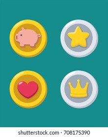 Icons of gold and silver coins: a gold coin with a pig; a gold coin with a heart; silver coin with a star; silver coin with a crown.