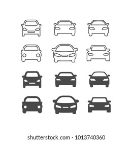 Icons of gray cars. vector flat icons on white background. linear vector icons