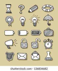 Icons Hand Drawn 1. Good use for your web site icons. Easy to use, because each item is a group.