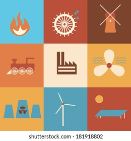 Icons of history of energy production in retro colors. Eps10 vector illustration
