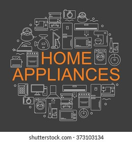 Icons of home appliances arranged in a circle in the style of the line. Banner or poster.