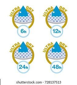 Icons of hours for Ultra Dry or absorption for hour, usable for looter, nappy, diaper, compress, napkin, serviette...