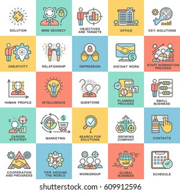 Icons human personality psychology, big and small business. Elements of planning, communication, marketing, service. The thin contour lines with color fills.