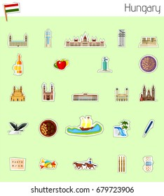 Icons of Hungary - vector illustration