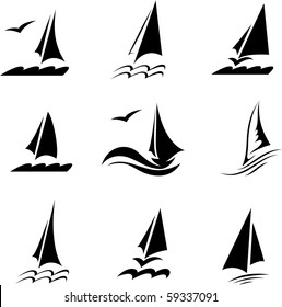 Icons with the image of yachts on a white background. Company logo design.