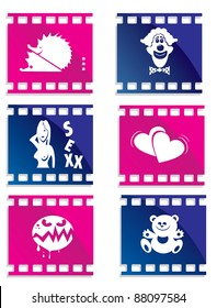 icons with the images of different genres of cinema