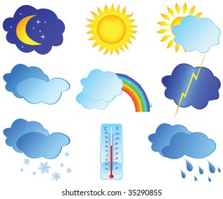 Icons with images weather. Vector illustration