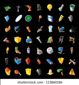 Icons for industry, tools, computers and technology. Black background. Vector illustration.