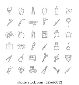 Icons with instruments for dentists