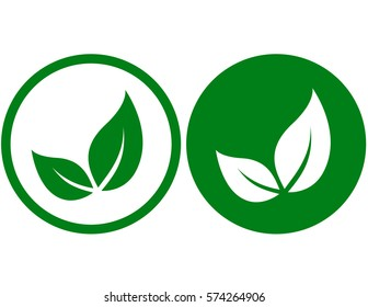 icons with isolated green leaves