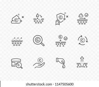 Icons isolated on transparent background. Vitamin E, olive oil, serum drop icon set. Collagen cream for hair, body skin signs. Vector outline stroke medical symbols.
