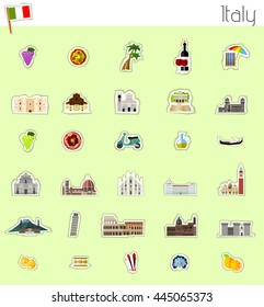 Icons of Italy - vector illustration