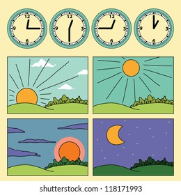 Icons with landscapes showing day cycle and clock showing the time of the day - morning, noon, afternoon, evening