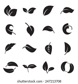 Icons of leaves. Vector illustration