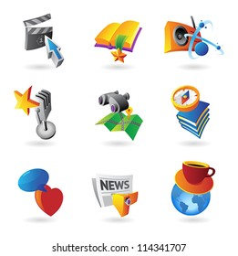 Icons for leisure, travel, sport and arts. Vector illustration.