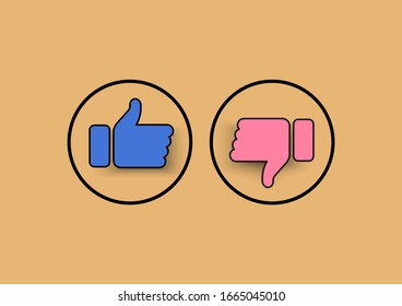 Icons like and dislike modern vector on social media. Design use elements for social network, marketing, business, advertisement and web site.