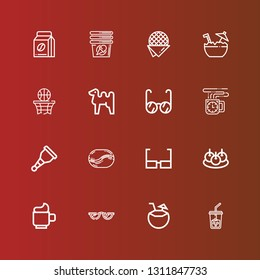 icons line Ice coffee, Coconut, Glasses, Cup, Bitterballen, Coffee bean, Wooden leg, Coffee cup, Camel on red