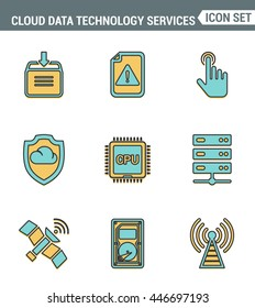 Icons line set premium quality of cloud data technology services, global connection. Modern pictogram collection flat design style. Isolated white background