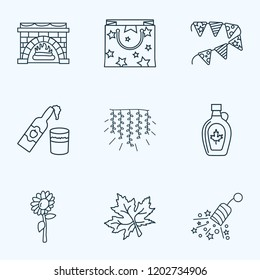 Icons line style set with light garland, petard, cider bottle elements. Isolated vector illustration  icons.