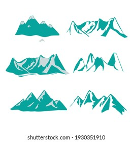 Icons or logotypes of mountains. On a white backdrop, a vector representation of a mountain landscape.