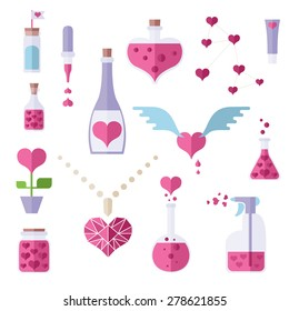 Icons of love chemistry theme. Different cute objects from lab where love and romantic make. Heart shapes. Colorful modern vector flat icons set. Elements for web and mobile apps. Vector file is EPS8.
