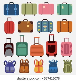 Icons luggage. Flat style. Suitcases and backpacks. Vector illustration.