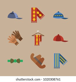 icons Man Accessories with red cap, cowboy hat, cap, scarf on hanger and baseball cap