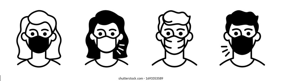 icons man in medical face protection mask, woman with mouth mask sick and healthy.
