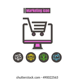 icons marketing colorful design vector line black on white background