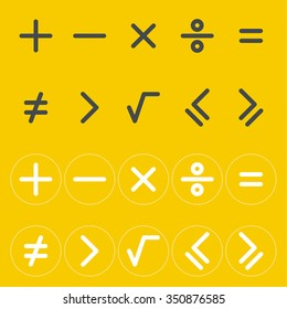 Icons mathematical signs. The buttons for the calculator