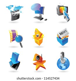 Icons for media, information and entertainment.  Vector illustration.