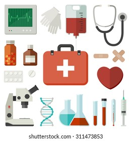 Icons of medical instruments and medicament in flat style. Vector flat illustration