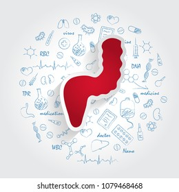 Icons For Medical Specialties. Proctology And Rectum Concept. Vector Illustration With Hand Drawn Medicine Doodle. Rectum, Proctologist, Colon, Colonoscopy, Prostate