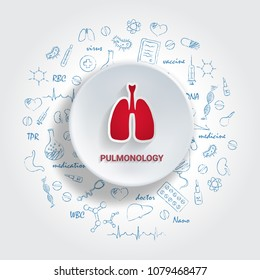 Icons For Medical Specialties. Pulmonology Concept. Vector Illustration With Hand Drawn Medicine Doodle. Lungs,Diagnosis, Asthma, Bronchial, Cancer