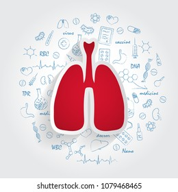 Icons For Medical Specialties. Pulmonology And Lungs Concept. Vector Illustration With Hand Drawn Medicine Doodle.