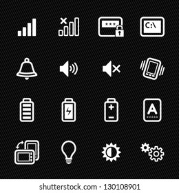 Icons for Mobile Phone with Black Background