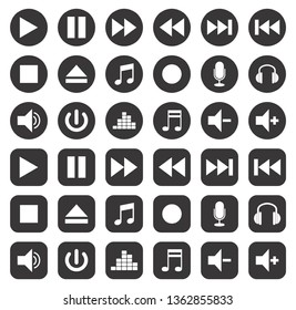 icons music bottons vector set eps 10 shapes play fast forward stop eject pause
