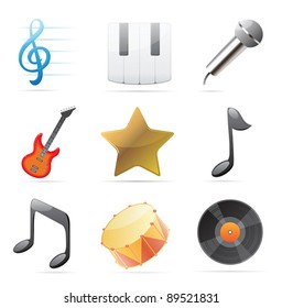 Icons for music. Vector illustration.