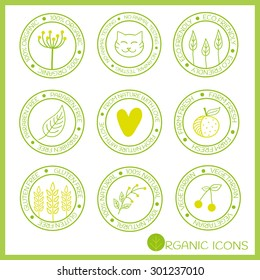 Icons for natural and organic products in doodle style.