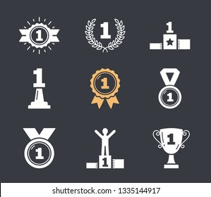 Icons with number one, first place icons, champion, winner, leader, success, vector eps10 illustration