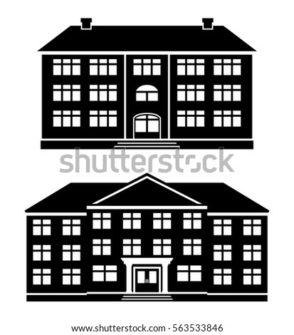 Icons Office Buildings School Apartment House Stock Vector Royalty